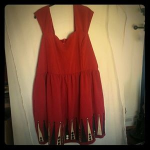 Bea Dot Red Backgammon Dress